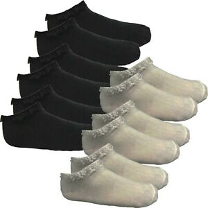 Womens Girls Frilly Ankle Trainer Socks Cotton Lace Top Black White Pretty Ankle