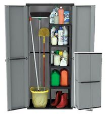 Broom Cupboard Storage Cabinet Grey Recycled Plastic 2 doors 4 Shelves Lockable