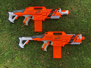 lot of 2 nerf accu strike series strato hawk CS-18 Blaster Gun machine working