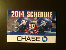 New York Giants 2014 NFL pocket schedule - Chase Bank