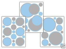 Blue Grey Polka Dot Wall Art Decals Baby Boy Nursery Circle Stickers Room Decor