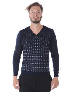 Maglia Maglione Daniele Alessandrini Sweater Lana Uomo Blu FM62121AS3706 23