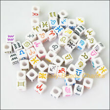 50 New Charms White Acrylic Plastic Square Mixed Constellation Spacer Beads 7mm