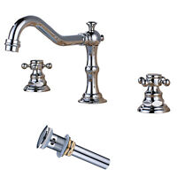 Widespread Bathroom Sink Faucet Chrome Dual Handles 3 Holes Lavatory Tap W/Drain