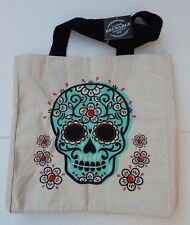 CLASSIC REUSABLE SHOPPING TRAVEL TOTE BAG SKULL CANVAS HANDCRAFTED IN INDIA NEW