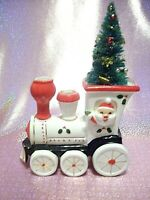 *RARE VTG Japan Christmas Santa Express Train Bottle Brush Tree Planter Figurine