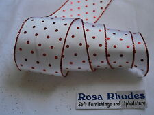 CHRISTMAS WIRE EDGED RIBBON -  WHITE SATIN WITH RED DOT PRINT