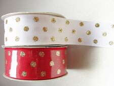 Offray Designer Grosgrain Ribbon Lot of 2 Spools whit/red