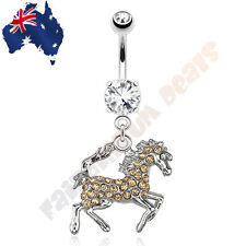 316L Surgical Steel Horse with Peach Tone Gems Belly Dangle