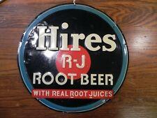 Antique 1940's metal Hires Root Beer sign 12 inch diameter