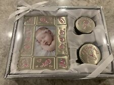 Baby Girl Keepsake Photo Frame First Curl First Tooth 3 Piece Gift Set