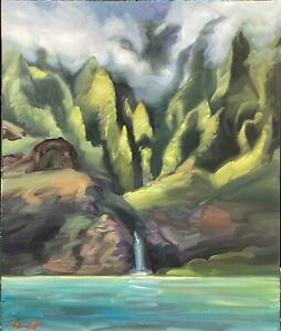 """Abbott Oil Canvas 24""""x20 Towering Over Pacific, Na'Pali Coast Drenched Beautiful"""