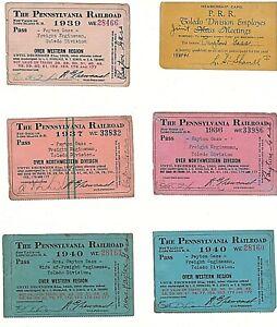 Pennsylvania Railroad Employee Membership Card & 5 R. R. Passes 1936 to 1940