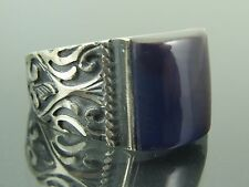 Turkish Handmade Ottoman Style 925 Sterling Silver Agate Stone Men's Ring Sz 10