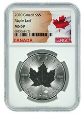 2020 Canada 1oz Silver Maple Leaf NGC MS69 - Flag Label