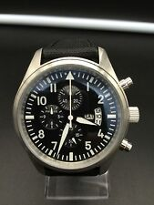 46mm PARNIS IW HOMAGE MIYOTA QUARTZ CHRONOGRAPH PILOT AVIATOR WATCH SUPERB - UK