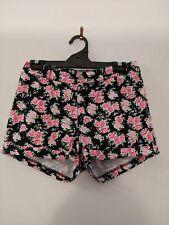 Divided H & M Women's Shorts Size 12 Black Pink Floral Denim