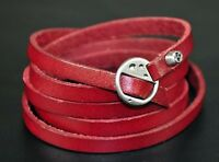 Chic Surfer Cool Skull Long Multilayer 5-Wraps Quality Leather Bracelet Cuff RED