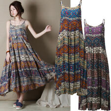 UK 10-24 Plus Size Summer Women Party Printed Floral Strap Sleeveless Long Dress