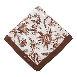 Kiton Chocolate Brown Victorian Floral Print Silk Pocket Square