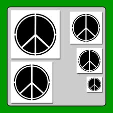 Set of 5 Peace Sign Symbols STENCILS 1 through 5 inches! Hippie/Love/60's