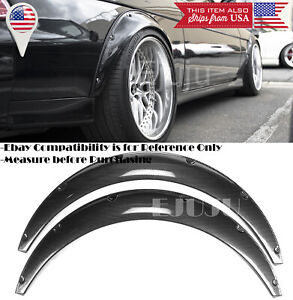 "2 Pcs 2.75"" Wide ABS Black Carbon Effect Fender Flares Extension For BMW AUDI"