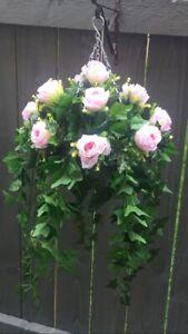 Beautiful  Pink Roses Artificial  Trailing Hanging Basket