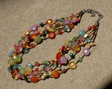 Colorful 5-Strand Necklace with Glass, Plastic, Stone, and Seed Beads