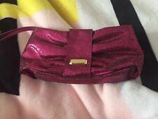 VICTORIA'S SECRET Pink Glitter Bling Wristlet Clutch Makeup Evening Bag