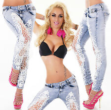 Women's Light Blue Skinny Destroyed Look Ripped Jeans crocheted Lace Style 6-14