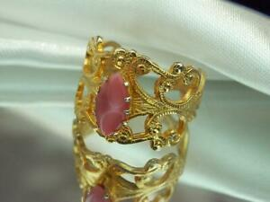 Extremely Pretty Adjustable Ornate Gold Tone Soft Pink Moonglow Ring  784o9