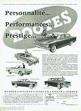 PUBLICITE ADVERTISING 096  1961  Rootes  Motors  la Humber Sunbeam Hilman Singer