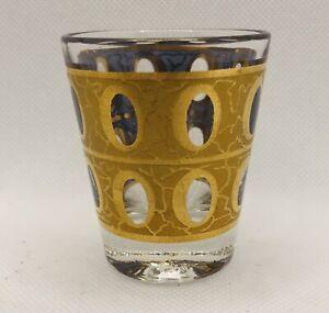 4 Culver Pisa Piza Pattern 22KT Gold Crackle Shot Glasses