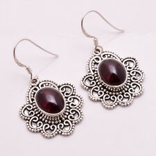 925 Solid Sterling Silver Earrings, Natural Garnet Handcrafted Jewelry CE676
