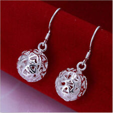 Pretty New Sterling Silver Plated Hollow Heart Cutout Ball Dangle Drop Earrings