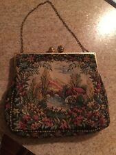 Vintage Made in France Gobelin Purse Embroidered Tapestry Art Chain Handle Bag