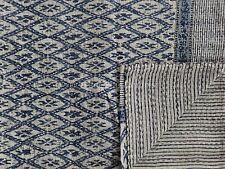Ikat Block Print Fabric Kantha Quilt Indian Reversible Indigo Cotton Bedspread