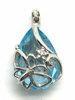 Sterling Silver 925 Caged Faceted Pear Blue Aquamarine CZ Butterfly Wrap Pendant