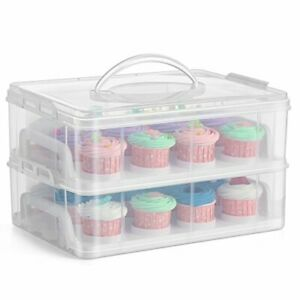 2 Tier Stackable Plastic Cupcake Carrier Muffin Holder White Storage Box Handle