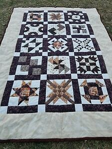 """Twin COWBOY 68"""" × 94"""" QUILT Fly fishing, Bees, Mans Boys handmade"""