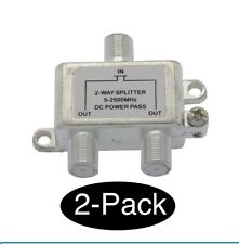2x 2Way Splitter Coax/Coaxial Antenna RF Satellite Cable TV Signal DC Power Pass