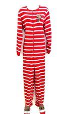 Nick & Nora Medium PJ'S Pajama Soft Fleece 1 Pc Footed Sock Monkey Stripe Red