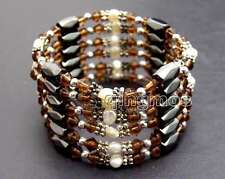 SALE 4-5mm White Natural Pearl and Purple Crystal & Hematite 36'' Bracelet-br362