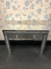 Sparkly Silver Mirrored Crushed Crystals Diamante 2 Drawer Console Table