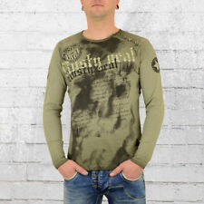 Rusty Neal Herren T-Shirt Langarm No Mercy oliv grün Longsleeve Männer Tshirt