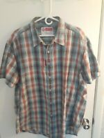 Robert Graham Button Up Shirt Mens Size 3XL Multi Colored Plaid Short Sleeve