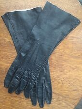 Vintage Wear Right Black Leather Gloves Size 6 3/4 Mid-Forearm