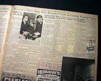 PAUL HORNUNG Notre Dame Fighting Irish Football HEISMAN TROPHY 1956 Newspaper