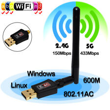 Wireless USB WiFi Network Adapter 802.11AC 600 Mbps Dual Band 2.4/5Ghz w/Antenna