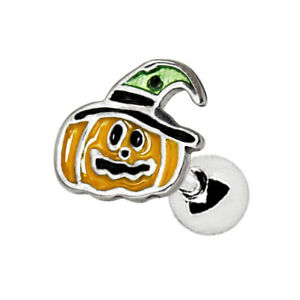 Halloween Pumpkin tragus cartilage helix bar ear stud 1.2mm x 6mm